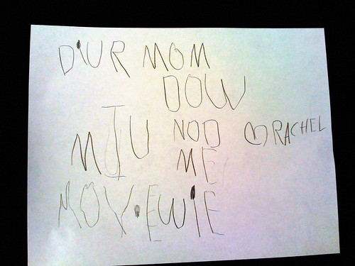 Letter to mom from Rachel - asking to not interrupt her as she watches a movie on our iPod Touch