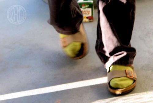 Toby wears green socks