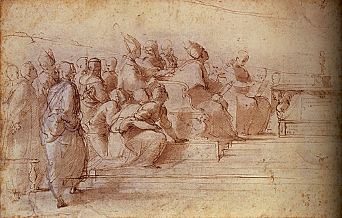 1508  Raphael    The Disputa, Study for the lower left Section  Brush and brown wash  24,7x40,1 Londres, British Museum
