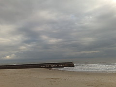 021120083162 (knatr) Tags: england cloud beach sign danger pier seaside empty overcast off keep cromer tidebreak