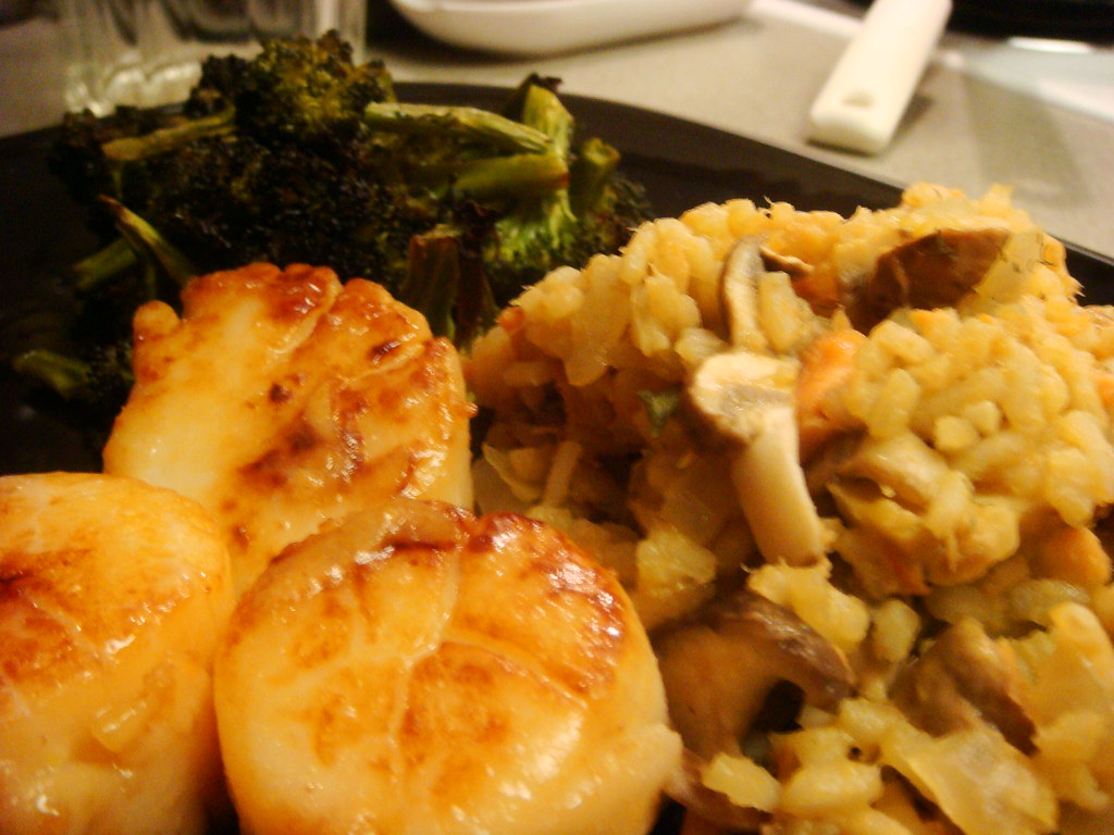 Adventures in Cooking: Risotto, Scallops, & Roasted Broccoli, 2/11/2009