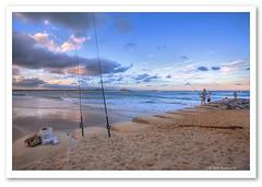 Fishing at Dusk-2012 (Barbara J H) Tags: ocean sea fishing sand waves fishermen australia qld groyne hdr maroochydore fishingrods photomatix dusklight barbarajh fishingatdusk