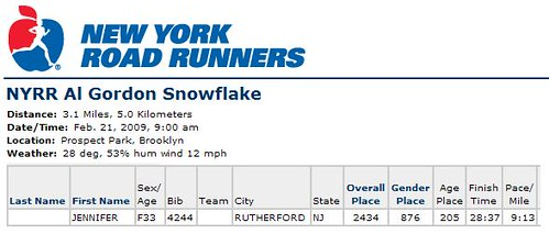 NYRR Snowflake Results by you.