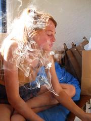 Smoking by the recycling. (Dean Ruben.) Tags: seattle girl cigarette smoke