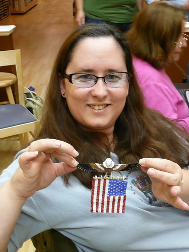 Melanie and her Patriotic Beading