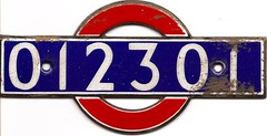 London Underground - car 012301 interior number plate
