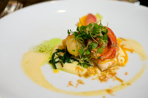 Michael Ginor's Citrus butter poached lobster with sea beans and potato cream, as served at the Four Seasons Bangkok World Gourmet Festival's Gala Dinner