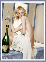 Eva Herzigova (CATTYROY) Tags: woman glass donna bottle model eyes eva cs2 blu top dom champagne ps occhi blonde bicchiere colorize herzigova bottiglia bionda modella perignon azzurri