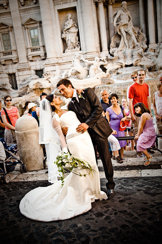 Italian Couple at the Trevi Fountain