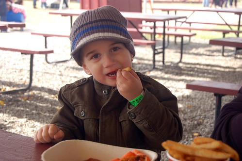 Jacob enjoys his lunch