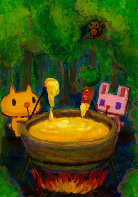 一枚絵_4_夜の森のチーズフォンデュ