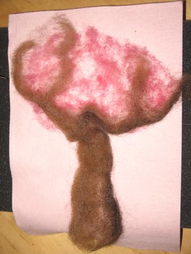 Valentine tree before needle-felting