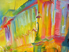 Buckingham Palace 1999 (Detail) by Stephen B Whatley (Stephen B Whatley) Tags: pink blue windows red color colour detail green london art classic lamp yellow closeup architecture painting advertising poster artist vibrant magenta royal vivid palace advertisement buckinghampalace expressionism sensational londonunderground residence royalty oilpainting queenelizabeth colourartaward stephenbwhatley