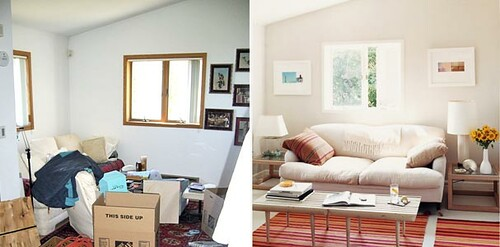 Ideas for small spaces: Before & after living room: White paint + colorful