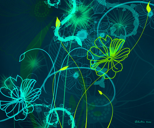 blue flower wallpaper. Blue and Green Floral