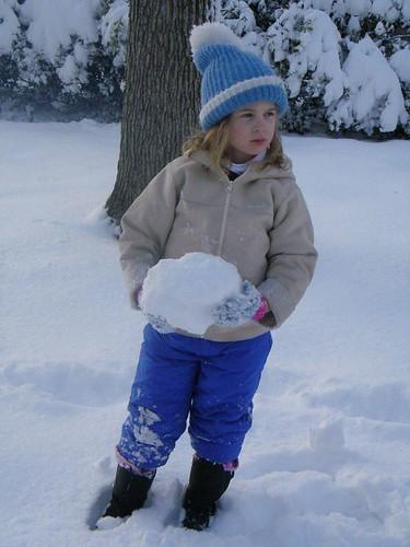 Lena making snowball