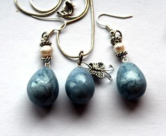 Set with lightbluepearl polymer clay drops