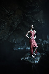 The Cave (LalliSig) Tags: blue red portrait woman brown white black wet water girl fashion rock iceland rocks dress gray portraiture cave mvatn grjtagj
