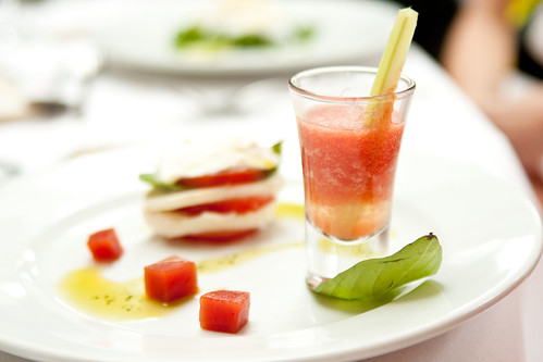 Assiette of tomato (mozarella salad, gazpacho, bloody Mary jelly)