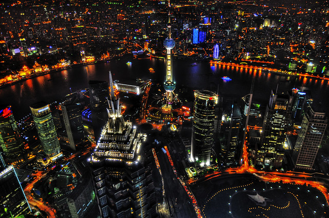 Shanghai Skyline from 492 Meters, by Sprengben on Flickr (CC licensed).