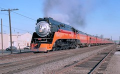 "Southern Pacific GS-4 ""Daylight"" Lima-built 4-8-4 steam locomotive number 4449, southbound through Fresno, California on its way to the New Orleans Worlds Fair, May 12, 1984. (Ivan S. Abrams) Tags: california railroad up train daylight neworleans eisenbahn railway trains sp fresno unionpacific locomotive sacramento lionel portlandoregon railways canonae1program railfan trainspotting locomotives railroads mth kato bli sanjoaquinvalley southernpacific nrhs steamlocomotive uprr passengertrain passengertrains steamlocomotives concor peremarquette1225 fantrip railfans railwayenthusiast brooklynroundhouse sprr excursiontrain railwaypreservation jimconway nationalrailwayhistoricalsociety athearn doylemccormack railwayenthusiasts onlythebestare owossomichigan afternoondaylight shastadaylight excursiontrains neworleansworldsfair railbuff katousa morningdaylight restoredlocomotives californiastaterailwaymuseum railbuffs maxgray mikestrainhouse restoredlocomotive valleydaylight train98 train99 trainfestival2009 worldsfairdaylight train52 broadwaylimitedimports westsidemodels balboascalemodels kemtron levonkemalyan sacramentodaylight railfest2011"