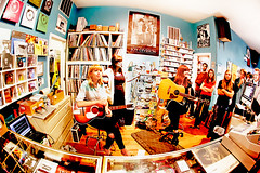 Vivian Girls at Permanent Records (kirstiecat) Tags: music concert band fisheye indie recordstore fisheyelens instoreperformance viviangirls permanentrecords kickballkaty cassieramone alkoelher