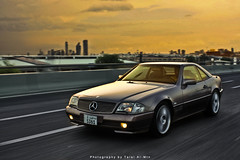 Mercedes SL 94 (Talal Al-Mtn) Tags: road street red sky orange sun motion cars car yellow by clouds speed canon silver photography gold mercedes automobile gray tire automotive tags sl 94 automatic pro kuwait 500 rims cl v8 amg q8 sl500 kwt 450d painng inkuwait talalalmtn  mercedessl94
