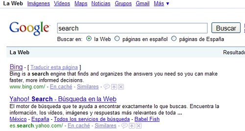 Buscando search en Google, encontrando Bing