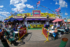 Coney Island (kRISTIAN yEOMANS) Tags: new york old city blue two sky woman usa sun house hot beer lady island hotdog dangerous fairground fat grill pizza coney bearded lager headed tanned