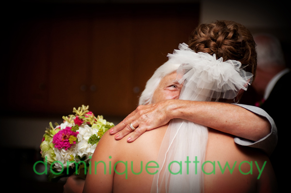 grand mother looking up to bride