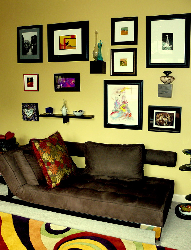 eclectic art wall