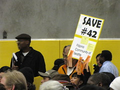 People came to last weeks County Council Town Hall Meeting to protest recent bus route changes. Photo by Wendi.