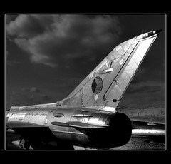 Aviation Museum (sysko20) Tags: bw history museum clouds plane airplane europe czech aircraft eu finepix czechrepublic fujifilm easterneurope ceskarepublika sysko moravia morava mig21 cesko kunovice oldaircraft s8000fd