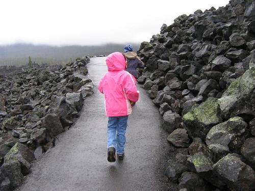 Kiddos walking through the lava paths