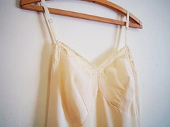 vintage Ecru 1960s Full Slip with Lace Trim