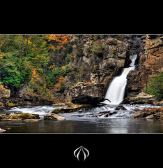 Linville Falls (Aaron K. Price) Tags: longexposure autumn trees orange cliff green fall water leaves river waterfall rocks peak northcarolina linville hdr linvillegorge linvillefalls 1755 canon30d aaronprice