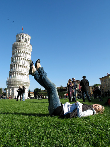 Leaning Tower Of Pisa, with Tourists