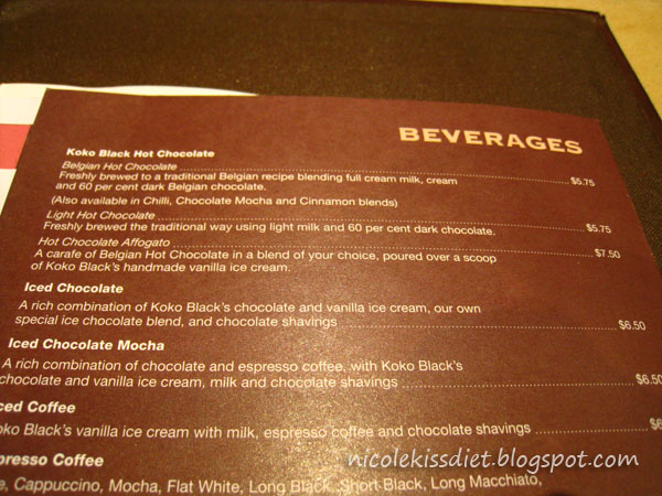 kokoblack menu
