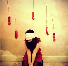 Day 176 - I'm not picking up the phone (miriness) Tags: portrait mobile wall clouds vintage call phone telephone fear cell surreal floating retro phonecall nightmare scared conceptual phones reddress redphone phobia fineartphotography ringring randomfacts miriness fearofphones hangingphones