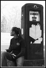 Sitting Waiting Wishing (B&W) (kimberly.diane) Tags: blackandwhite beth gaspump morgancounty buckheadga bhale87