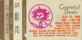 Grateful Dead GDTS ticket - 7/21/90 World Music Theatre, Tinley Park, Illinois [borrowed from www.psilo.com]