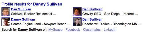 Google Profiles in Web Results