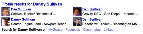 Google Profiles in Web Results