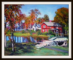 Autumn Scene - Acrylic Painting by snc145 (snc145) Tags: bridge autumn trees sky reflection art fall water landscapes interesting scenery acrylic artistic paintings lakes popular 1985 professionals flickraward onlythebestare artgalleryandmuseums stevenchateauneuf
