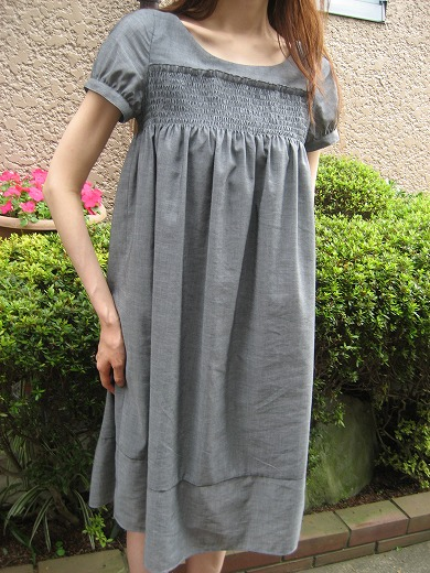Shirred Dress- Gray Chic from Beams