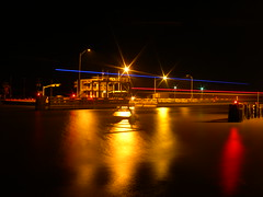 Bridge, with boat lights (webdeveric) Tags: bridge sargenttexas gufofmexico