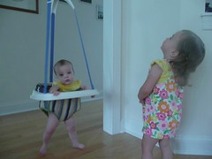 arden jumping with kelsey (M Drenzek) Tags: kelsey 6months arden 2yearsold