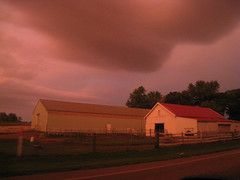 Diffuse pink light before the storm clouds rolled in (moodyfan (stopping by for just a few minutes)) Tags: pink storm wisconsin shed thunderstorm stormclouds diffuse topshots diffuselight rurallandscapes wisconsinthunderstorms