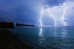 The Perfect Storm (Dan. D.) Tags: ocean light sea sky cloud seascape canada storm water night landscape bravo exposure quebec action lightning