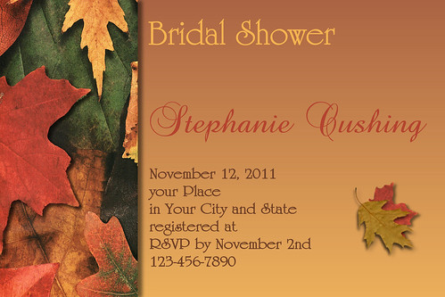 #C59 Thanksgiving, Autumn, Fall, Leaves, burnt, orange, green, brown, autumn color, Invitation, wedding, shower, bridal, baby, birthday, personalized, custom, yellow por www.collagebycollins.com 3.